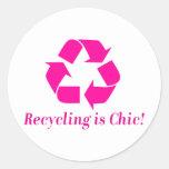 ¡El reciclaje es elegante! Pegatinas Redondas