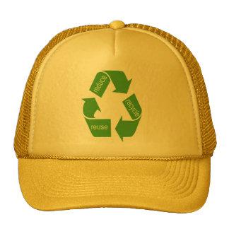 El reciclaje recicla verde icónico gorros bordados