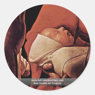 El recién nacido nacimiento de Cristo Pegatinas Redondas