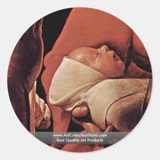 El recién nacido (nacimiento de Cristo?) Pegatinas Redondas