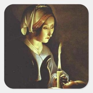 El recién nacido y la Virgen en lino por el viaje Pegatina Cuadrada