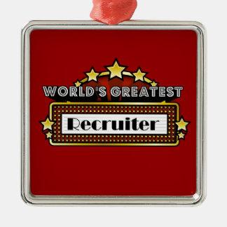 El reclutador más grande del mundo adorno navideño cuadrado de metal