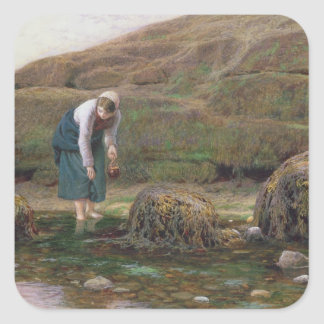 El recolector del bígaro, 1869 pegatina cuadrada