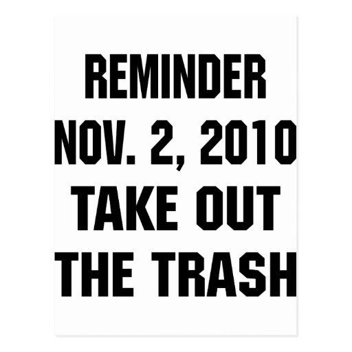 El recordatorio 2 de noviembre de 2010 saca la tarjetas postales