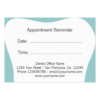 El recordatorio de la cita del dentista carda la tarjetas de visita grandes