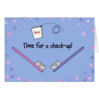 El recordatorio dental del dentista recuerda la ta tarjeta de felicitación