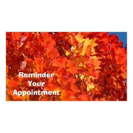 El recordatorio su cita carda otoño colorido tarjeta de negocio