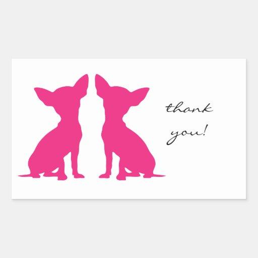 El rectángulo rosado del perro de la chihuahua le pegatina rectangular