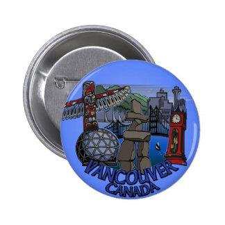 El recuerdo de Vancouver Canadá abotona arte de la Pin Redondo 5 Cm