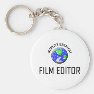 El redactor más grande de la película del mundo llavero redondo tipo pin