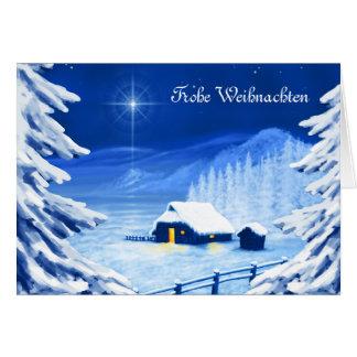 El refugio debajo de la estrella del navidad tarjeta de felicitación