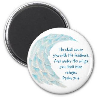 El refugio del 91:4 del salmo de la escritura imán redondo 5 cm