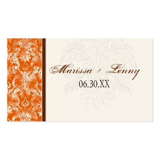 El regalo anaranjado del favor del boda de Fleur Tarjetas De Visita