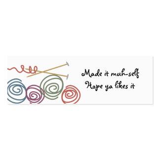 el regalo colorido de las agujas que hacen punto tarjetas de visita mini
