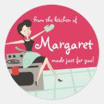 El regalo de cocinar o que cuece del ama de casa etiquetas redondas
