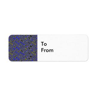 El regalo de encargo negro del remolino azul y etiqueta de remite