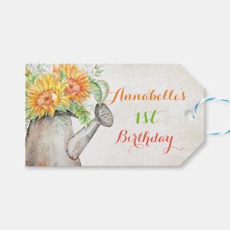 El regalo de la regadera de los girasoles de la etiquetas para regalos