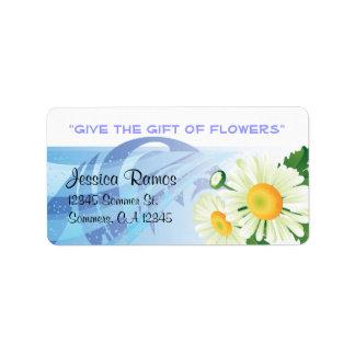El regalo de las flores - tarimas etiqueta de dirección