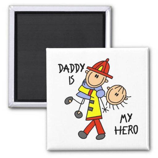 El regalo de los niños del bombero del papá imán cuadrado