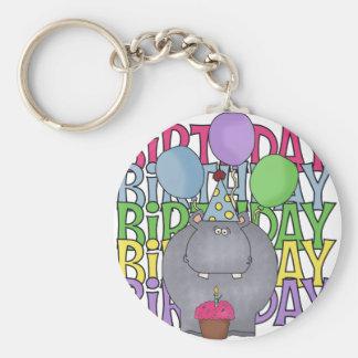 El regalo de los niños del hipopótamo del cumpleañ llavero redondo tipo pin