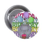 El regalo de los niños del hipopótamo del cumpleañ pins