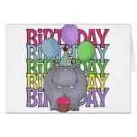 El regalo de los niños del hipopótamo del cumpleañ tarjetón