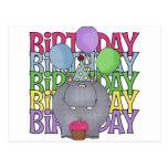 El regalo de los niños del hipopótamo del cumpleañ tarjetas postales