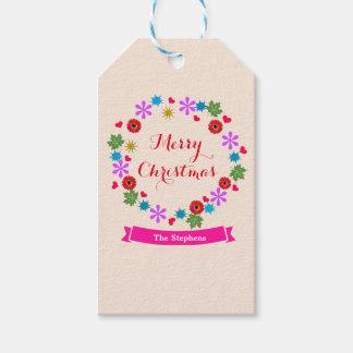 El regalo de vacaciones de encargo del navidad etiquetas para regalos