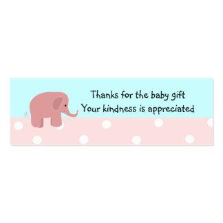 El regalo del bebé del elefante rosado le agradece tarjetas de visita mini