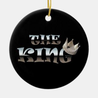 El regalo del día del rey padres adorno navideño redondo de cerámica