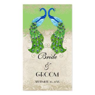 El regalo del favor de la verde lima del pavo real tarjetas de negocios