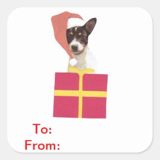 El regalo del fox terrier del juguete marca al pegatina cuadrada