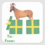 El regalo del gorra de Santa del caballo marca al Pegatina Cuadrada