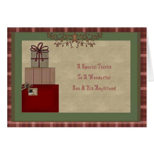 El regalo del navidad del hijo y del novio le agra tarjetón