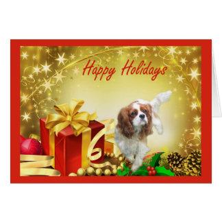 El regalo del navidad del perro de aguas de rey tarjeta de felicitación