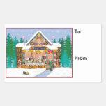 El regalo del pan de jengibre del navidad de rectangular pegatina