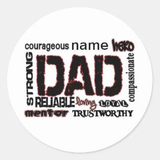 El regalo del papá añade nombre al padre del texto pegatina redonda