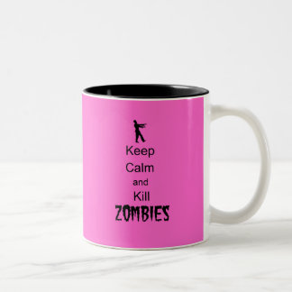 El regalo del zombi guarda calma y mata a rosa de  taza dos tonos