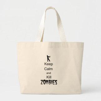 El regalo del zombi guarda calma y mata a zombis bolsas lienzo