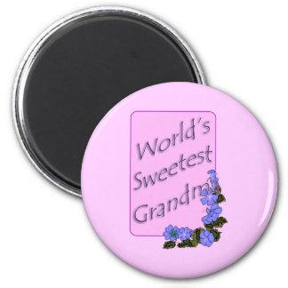 El regalo más dulce de la abuela del mundo imán redondo 5 cm