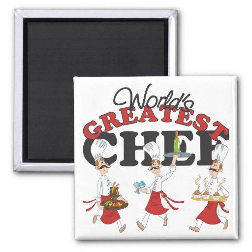 El regalo más grande del cocinero de los mundos imán cuadrado