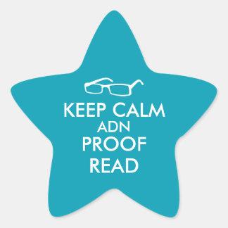 El regalo para los escritores guarda calma y la pegatina en forma de estrella