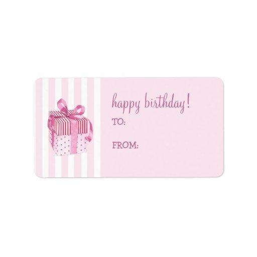 El regalo rosado raya la etiqueta de la etiqueta d etiqueta de dirección