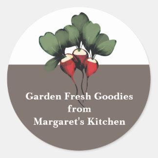 el regalo vegetal de la cocina de los rábanos etiqueta redonda