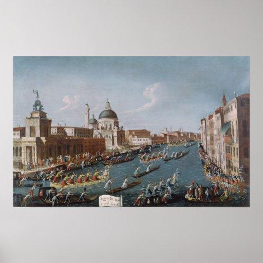 El Regatta de las mujeres en el Gran Canal, Veneci Póster