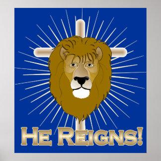 Él reina LEÓN del POSTER de JUDAH
