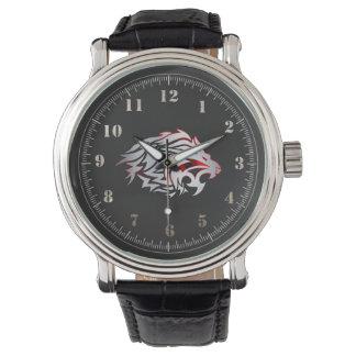 el relógio supera leão tribal relojes de pulsera