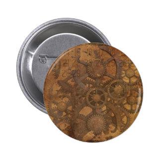 El reloj adapta el arte de Steampunk Pin Redondo De 2 Pulgadas
