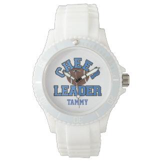 El reloj de encargo de la animadora azul y blanca