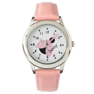 El reloj de encargo del chica rosado femenino de